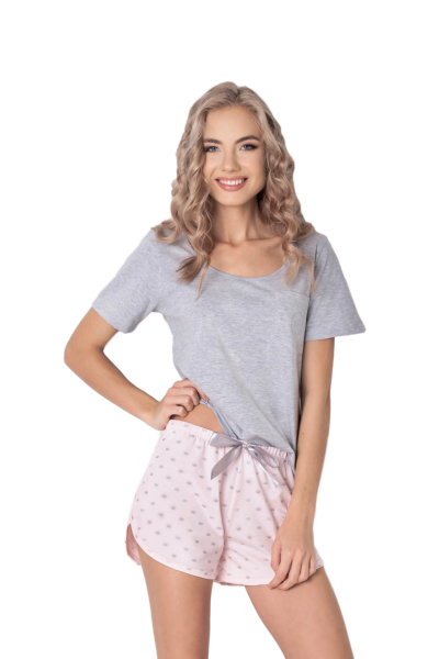 Aruelle Q Short Szaro-różowa piżama damska