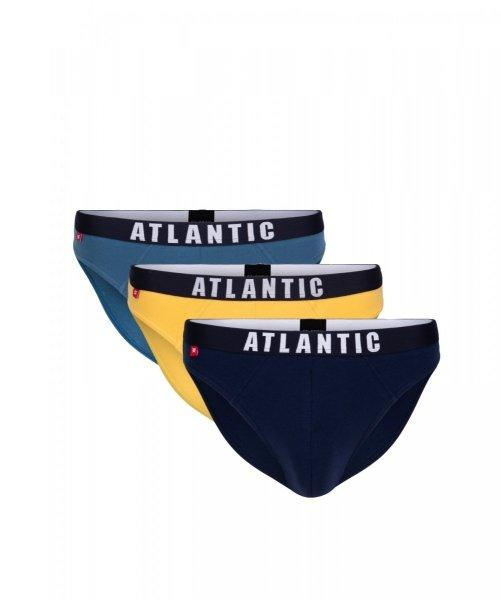 Atlantic 3MP-094 denim/żółty/granat Slipy męskie 3-pack