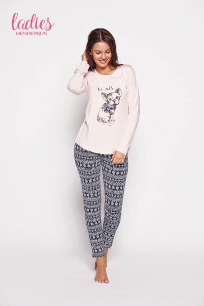 Esotiq Glory 35604-03x Różowo-granatowa piżama damska