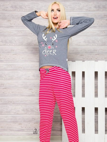 Taro 1193 Oda AW/17 K2 Szaro-różowa (fuksja) piżama damska