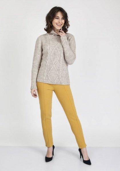 MKMSwetry Estelle SWE 121 Beżowy sweter damski