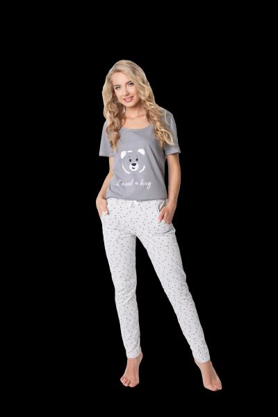 Aruelle Huggy Bear Long Grey piżama damska