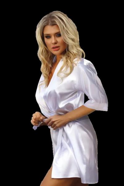 DKaren Scarlett 90 Biały szlafrok damski