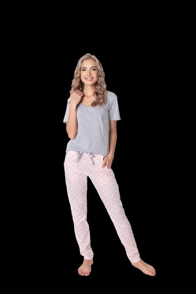 Aruelle Q Long Szaro-różowa piżama damska